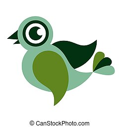 Green bird flat color illustration