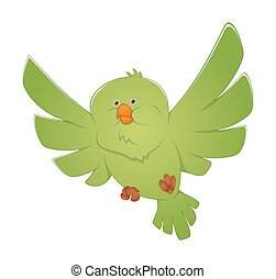 Green Bird Flying