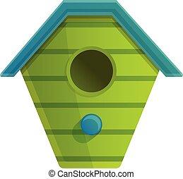 Green bird house icon, cartoon style