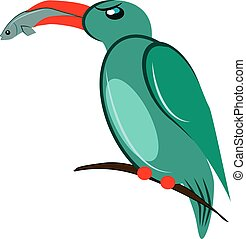 Green bird, illustration, vector on white background.