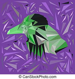 Green bird in a frame of scattered purple triangles.