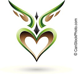 Green Bird Like Winged Heart with a Shadow Vector Illustration