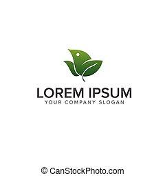green bird logo. nature logo design concept template
