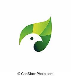 green bird logo vector, animal logo design