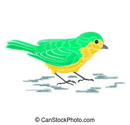 Green bird naturalistic vector
