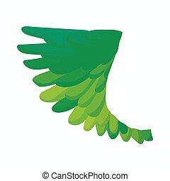 Green bird wing icon, cartoon style