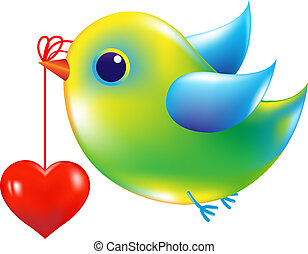 Green Bird With Heart