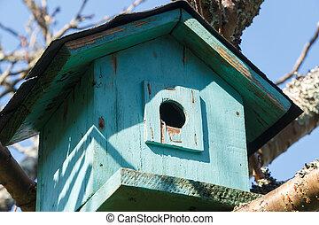 Green birdhouse in a tree