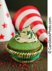 Green birthday cupcake