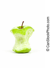 Green bitten apple isolated on white