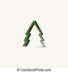 green black christmas tree vector icon