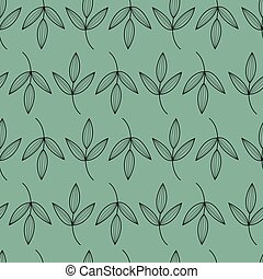Green, black seamless floral pattern. Beautiful leaves repeat background. Elegant fabric on dark background. Surface pattern design. Vector.