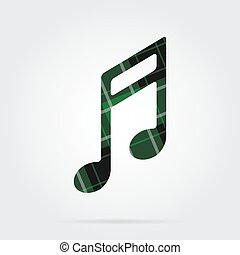green, black tartan isolated icon - musical note
