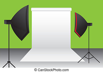 green, black, white, red photography studio background. vector