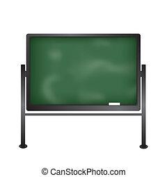 Green school blackboard stand with chalk