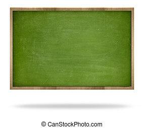 Green blank blackboard with wooden frame