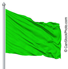 Green blank flag with flagpole waving in the wind against...