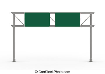 Green Blank Freeway Sign isolated on white background. 3D...