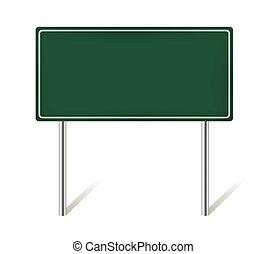 green blank information traffic sign