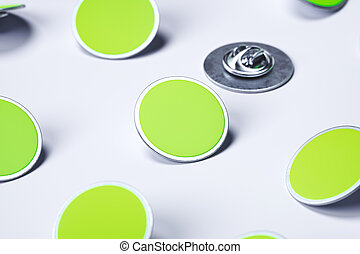 Green blank pin buttons on white background, 3d rendering.