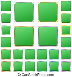Green blank square metal button set