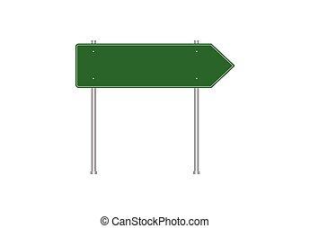 Green blank traffic road sign