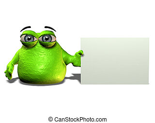 A green cartoon blob character holding a blank sign.