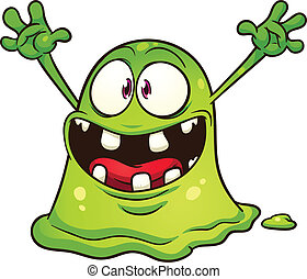 Green blob monster. Vector clip art illustration with simple gradients. All in a single layer.