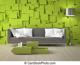 Green blocks wall and furniture - Interior design of a ...