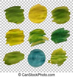 Green Blot Collection isolated Transparent Background
