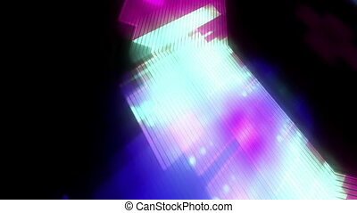 Green blue and magenta abstract geometric and particles loop...