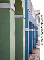 Green Blue and White Columns