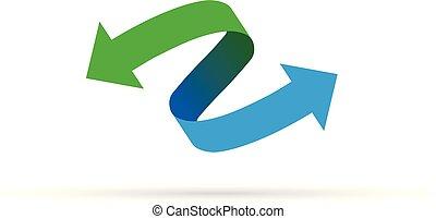 green blue arrow