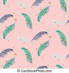 Green blue banana palm leaves pink seamless vector pattern.