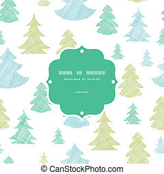 Green blue Christmas trees silhouettes textile frame seamless pattern background