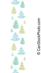 Green blue Christmas trees silhouettes textile vertical...