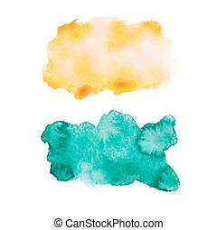 Green blue colorful abstract hand draw watercolour aquarelle art paint splatter stain on white background Vector illustration