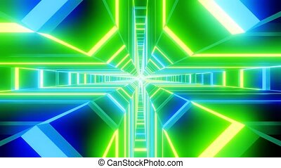 Green blue cross shape tunnel abstract animation. loop able Sci-fi abstract backdrop.