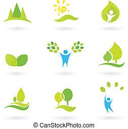 green), (blue, foglie, set, icona, ecologia, vettore, albero