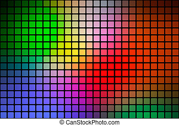 Green blue orange red abstract rounded mosaic background over black