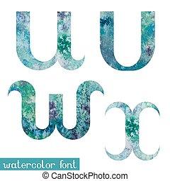 Green-blue watercolor font U,V,W,X