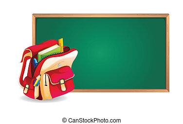 green board and school bag