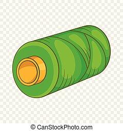 Green bobbin of thread icon, cartoon style