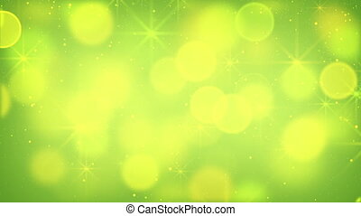 green bokeh lights and fairy dust loopable background -...