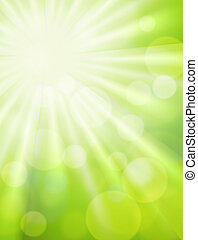 Green bokeh with sun rise abstract light background. Original illustration
