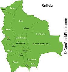 Green Bolivia map