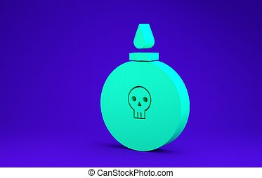 Green Bomb ready to explode icon isolated on blue background. Minimalism concept. 3d illustration 3D render