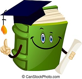 Green book graduating, illustration, vector on white background.