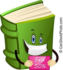 Green book holding a cupon, illustration, vector on white background.