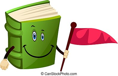 Green book holding a flag, illustration, vector on white background.